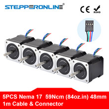 5PCS Nema 17 Stepper Motor 4-blei 48mm 59Ncm(84 unzen. in) 2A 1m Kabel (17HS4801) Nema17 Schritt Motor für DIY 3D Drucker CNC Roboter XYZ