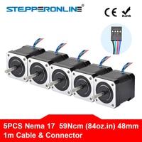 5PCS Nema 17 Stepper Motor 4 lead 48mm 59Ncm(84oz.in) 2A 1m Cable (17HS4801) Nema17 Step Motor for DIY 3D Printer CNC Robot XYZ