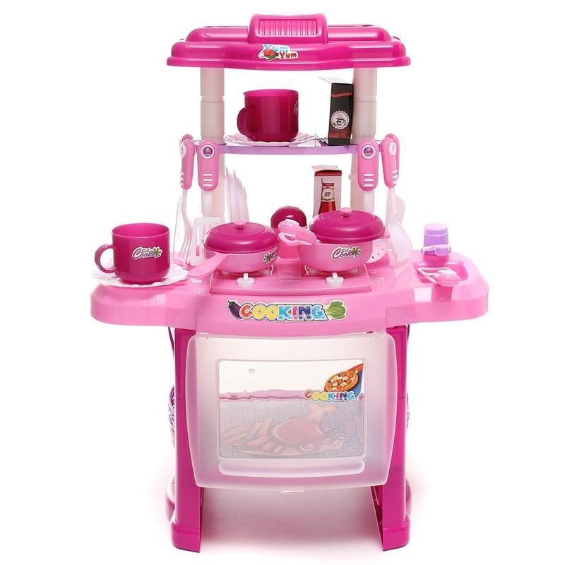 37 21 47cm Kid Kitchen Children Cooking Pretend Role Toy Play Set With Lights