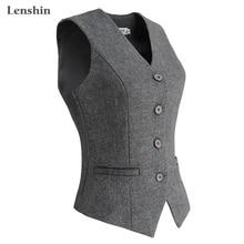 Lenshin женский элегантный OL жилет с v-образным вырезом Бизнес Карьера дамы топы Офис формальная рабочая одежда верхняя одежда