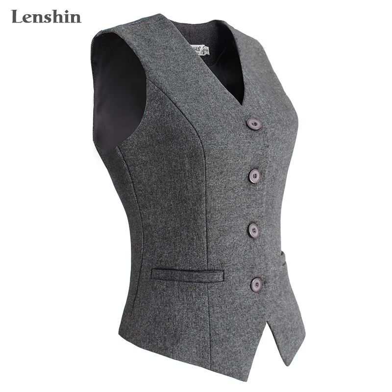 Lenshin Women Elegant OL Waistcoat Vest Gilet V-Neck Business Career Ladies Tops office Formal Work Wear Outerwear kleider weit