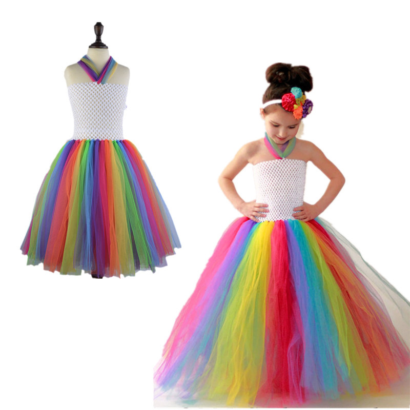 Baby Girls Rainbow Tutu Dress For Birthday Wedding Festival Photo Kids Halloween Dresses Girl Party Costume Photo Props 1set free shipping kids halloween tutu dress orange black long tutu dress with flower headbands festival party girls dress