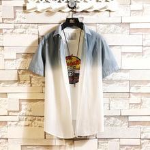 #0160 Summer Short Sleeve Shirt Men Cotton Gradient Color Mens Shirts Regular Fit Streetwear Casual Shirts Plus Size 4XL gradient color short sleeve mens sports suit