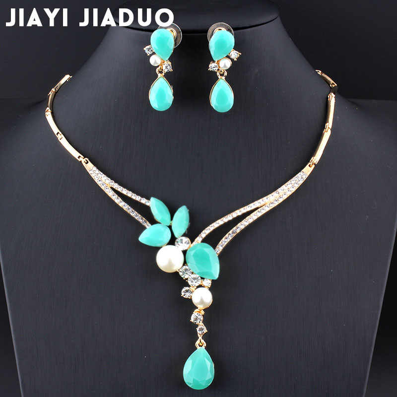 jiayijiaduo India Jewelry set Gold-color bridal Wedding summer gifts for women party vintage beads africani parure