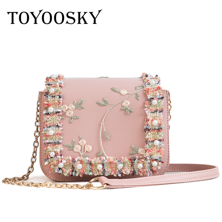dcfcd1c2f1 TOYOOSKY High Quality Embroidery Flower Flap Bag Women PU Leather Crossbody Shoulder  Bag Chic Lace Pearl Ladies Messenger Bag