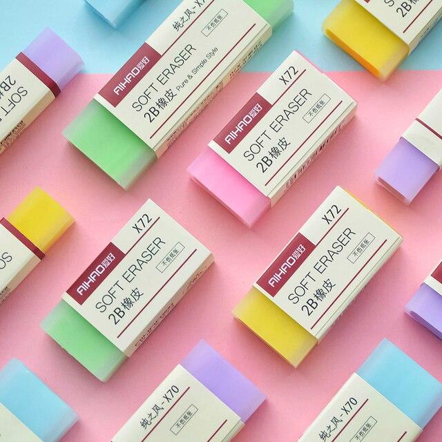 2 stks/set Eenvoudige snoep kleur Gum 2B student gum Schets speciale kawaii schoolbenodigdheden