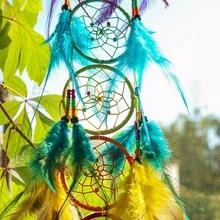 Chakra Dream Catcher Chandelier Prism Suncatcher Rainbow Maker Feather Home Wall Hanging Fengshui Dreamcatcher Decor Pendant