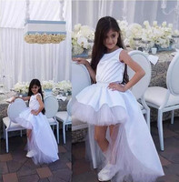 White High Low Style Girls Birthday Party Dress Crew Neck Sleeveless Flower Girls Dresses For Wedding
