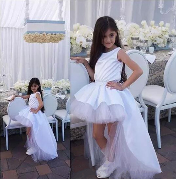 White High Low Style Girls Birthday Party Dress Crew Neck Sleeveless Flower Girls Dresses for Wedding Any Size стоимость