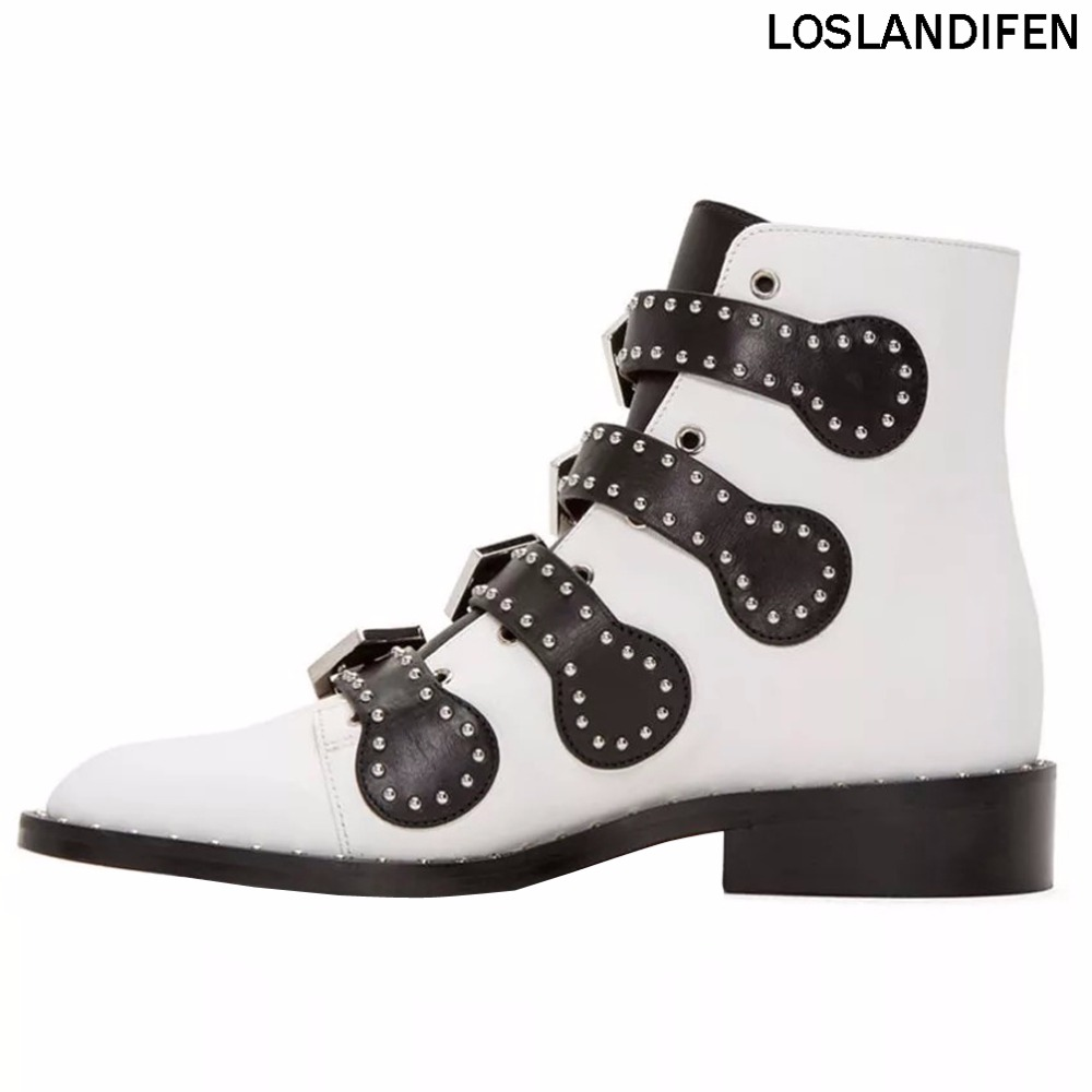 New Fashion Design Handcrafted Western Style Boots Metal Dots Deco Simple Style Hot Sale Spring Autumn Dailywear Booties XD733