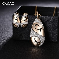 XIAGAO Luxury Oval Necklace Pendant Earrings Set For Women Gold Colr Dubai Jewelry Set Egg Bridal