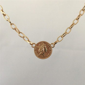 TRENDY GOLD COLOR PLATING COIN PENDANT NECKLACE FOR WOMEN GIRL