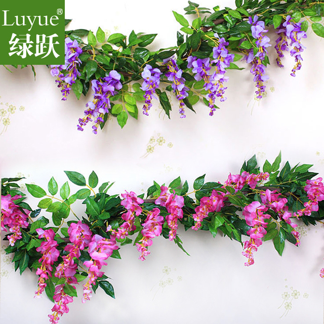 Simulation Wisteria Vine Wall Curd Artificial Flowers Home Decor Silk Flower Free Shipping
