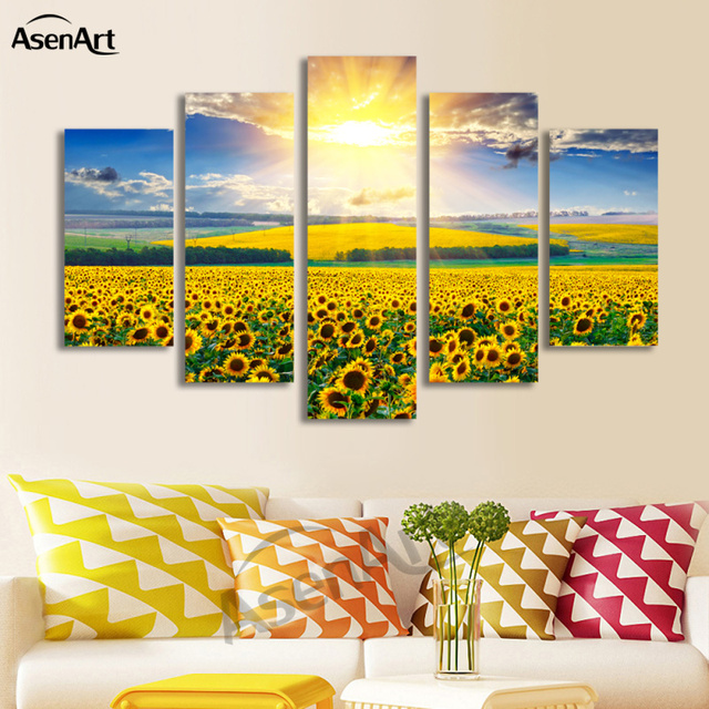 5 Panel Beautiful Sunflower Pictures Flower Painting Wall Art Canvas ...