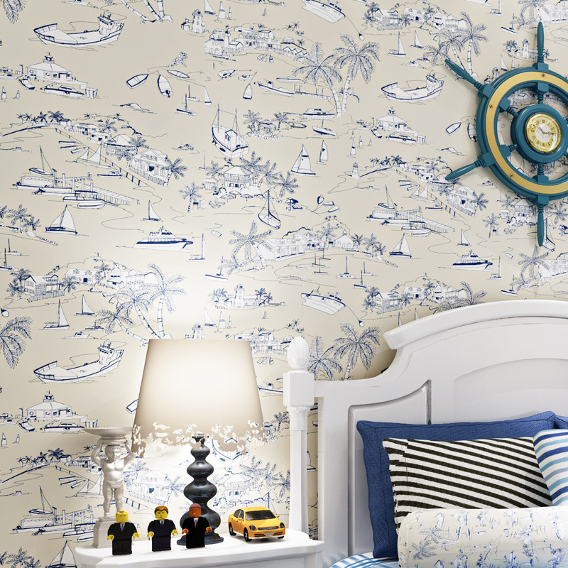 beibehang American Mediterranean children 's room wallpaper blue boat non - woven bedroom bedroom wallpaper Fairy Pirate Sailing beibehang children room non woven wallpaper wallpaper blue stripes car environmental health boy girl study bedroom wallpaper