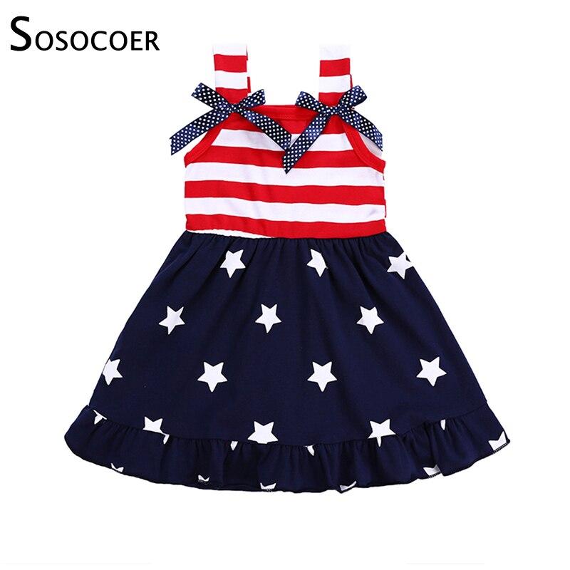 SOSOCOER Girls Dress 2018 Kids Dresses For Girls American Flag Sleeveless Vest Baby Girl Dress Striped Summer Children Clothing