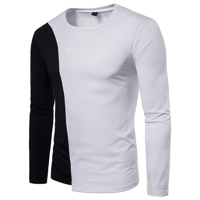 Mens fashion autumn winter two color stitching design casual round T shirts  neck long sleeves clothing ba7bac2e458