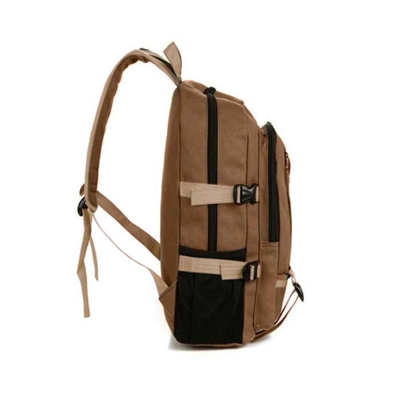 Outdoor Double-Shoulder bag Vintage Travel Canvas Leather Backpack Sport Rucksack Satchel School Hiking cycling Bag #5O08 (2)