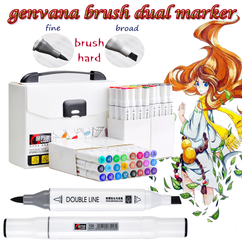 Genvana Soft Dual Tip Art Sketch Twin Brush Marker Pens Highlighter For Painting Coloring As Copic