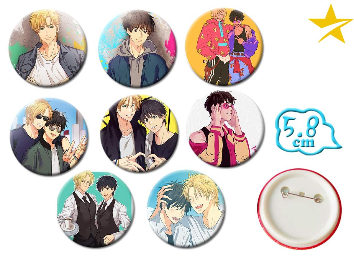 Giancomics Set of 8 Hot BANANA FISH Anime PVC Button Cool Badges Pins Brooch Chestpin Costume Backpack Ornament Accessory