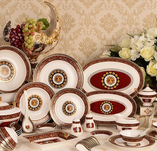 70 pieces classical red sun antique royal design classical ceramic dinnerware set  royal dining & 70 pieces classical red sun antique royal design classical ceramic ...