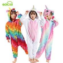 EOICIOI 21 nueva historieta dulce Pegasus Panda unicornio niños niñas pijamas suave franela Animal ropa de dormir niños manta Onesie