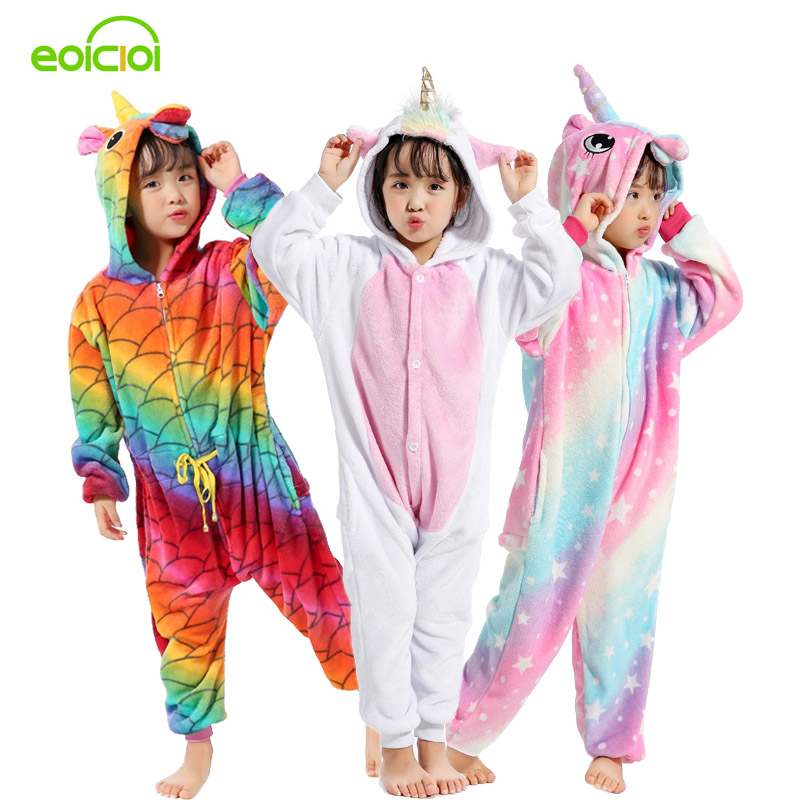 New Kigurumi Sweet Cartoon Pegasus Panda Unicorn Children Boys Girls Pajamas Soft Flannel Animal Sleepwear Kids Blanket Onesie