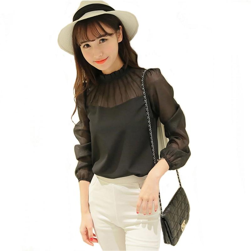 32cf7e5eabc1 Nueva llegada blusa de chifón de estilo coreano de mujer de Color ...