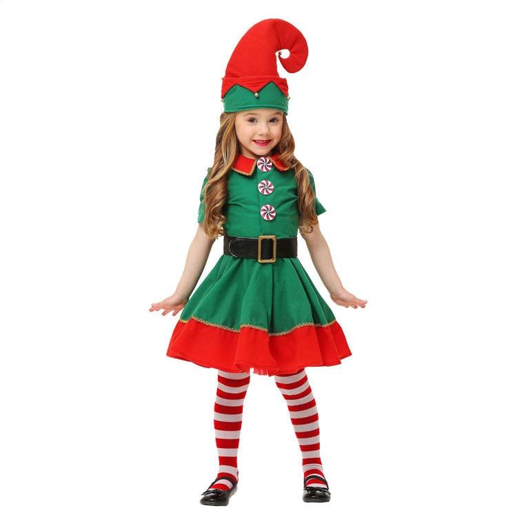 Christmas-Elves-Costumes-Women-Christmas-Halloween-Costume-Long-Sleeve-Green-and-Red-Girl-Elf-Dress-KIDS (3)