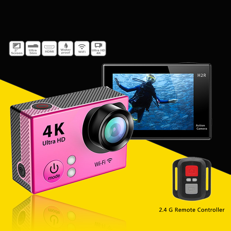 ФОТО DHL Free Ship 4K Ultra HD WiFi Sport Action Camera Slim Video Camera 30M Underwater H2/H2R(with remote) 4K Wifi Sports Camera