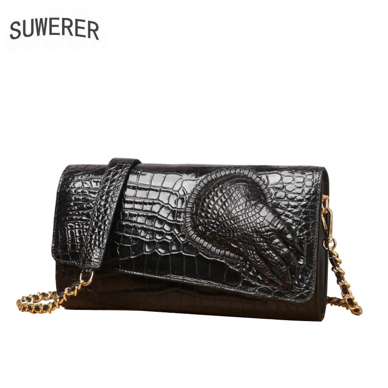 SUWERER 2019 New cowhide women genuine leather bags Embossed Crocodile pattern Fashion clhtch bag women leather shoulder bagSUWERER 2019 New cowhide women genuine leather bags Embossed Crocodile pattern Fashion clhtch bag women leather shoulder bag
