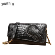 цена на SUWERER 2019 New cowhide women genuine leather bags Embossed Crocodile pattern Fashion clhtch bag women leather shoulder bag