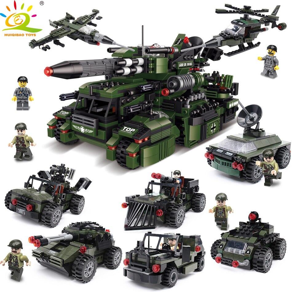 967 шт. 8in1 Военная Униформа автомобиля строительные Конструкторы Совместимость lege армейские грузовики оружие Солдат Рисунок кирпичи и
