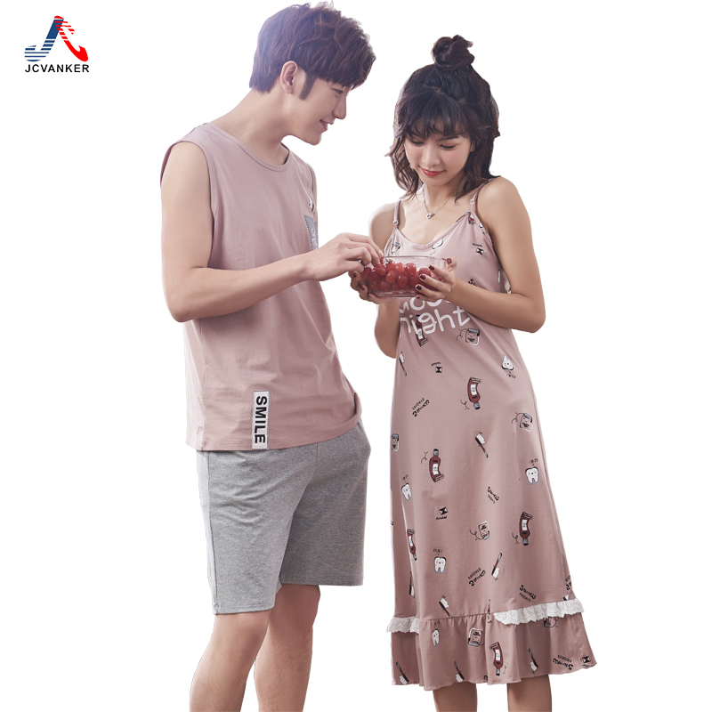 JCVANKER New Fashion 100% Cotton Nightgowns Pyjamas Set For Women Man High Quality Fabric Sleeveless Shorts Lace Suit Homewear