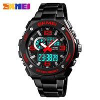 SKMEI 1333 Quartz Dual Display Digital Watch Men Sport 3 Time 12 24 Hour Clock Count