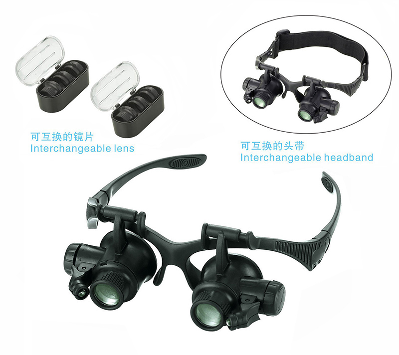 10X 15X 20X 25X Adjust Lens Watch Repair Magnifier 2 LED Eye Loupes Jewelry Watch Repair Tools Magnifying Glasses With Box 8 lens 10x 15x 20x 25x headband 2led magnifier magnifying loupe 9892g