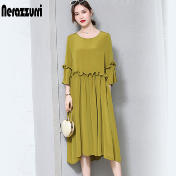 3a8450f4e96 Nerazzurri чистый тяжелый шелк платья для женщин из натурального шелка 2019  элегантное высококачественное длинное летнее платье
