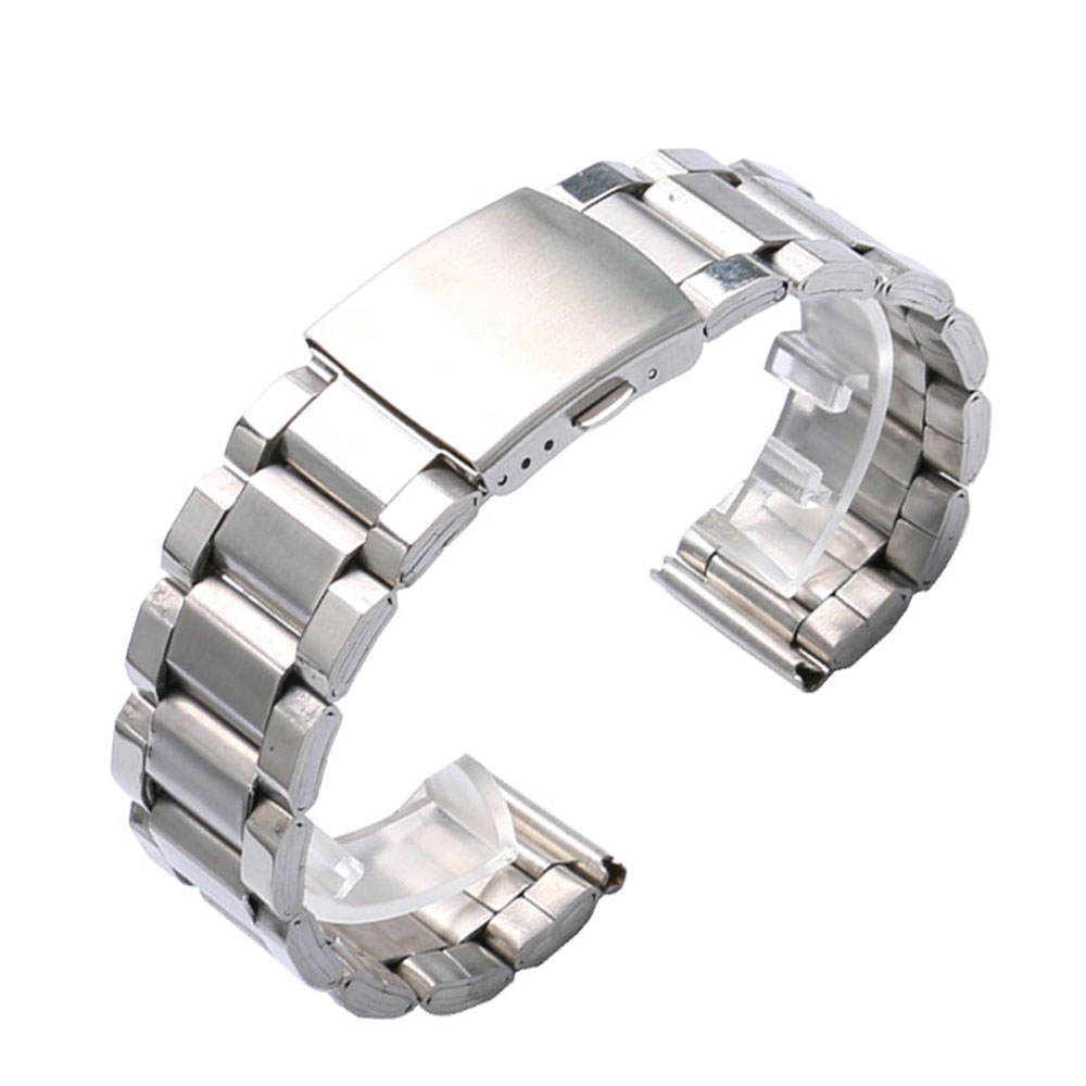 Silver 20/22mm Silver Stainless Steel Fold Over Clasp Replacement Solid Link Bracelet Men Wrist Watch Band+ 2 Spring Bars 18 20 22mm men stainless steel bracelet solid link wrist band watch strap replacement fold over clasp silver black gold