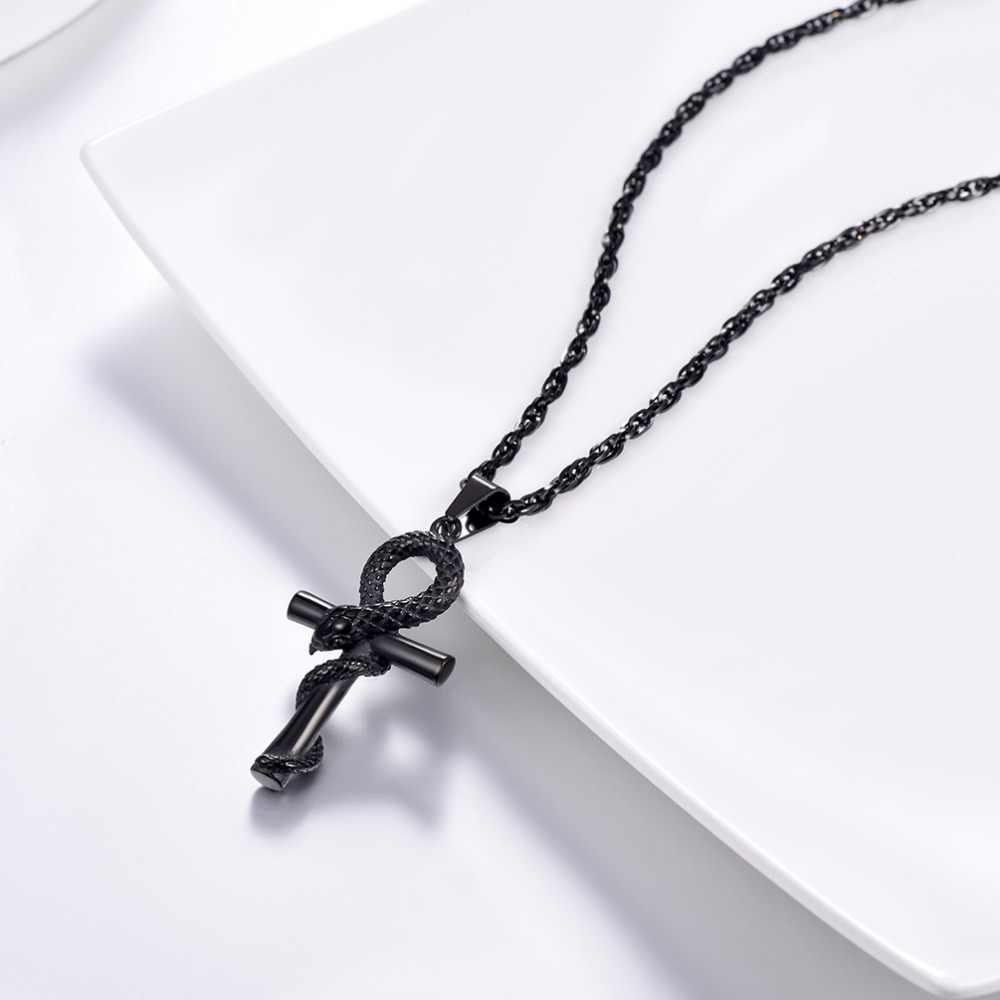 U7 egipski Ankh krzyż wąż naszyjnik 316L ze stali naszyjniki Hiphop długi łańcuch dla mężczyzn biżuteria 24 cali P1232