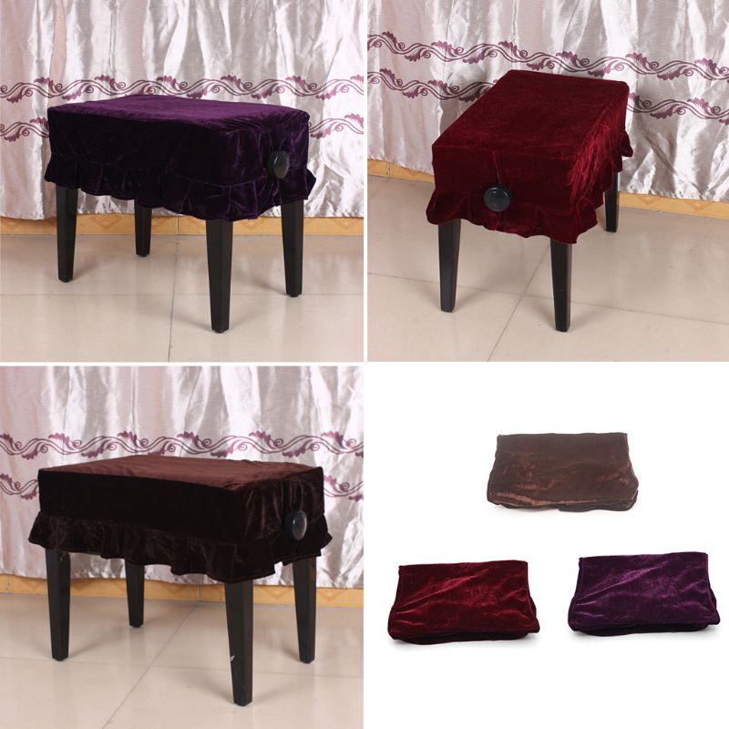 Peluche Piano Stool Slipcove Anti Dust Pleuche Stool Cover Stool Seat Covers Piano Bench Pleated Slipcover Chair Piano Protector