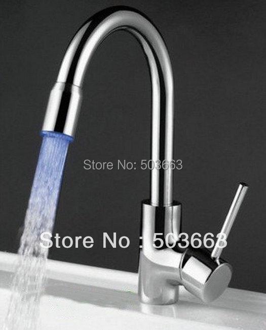 Water Steam Polished Chrome Brass LED Bathroom Basin Sink Mixer Tap Faucet CM0247 Mixer Tap Faucet стоимость