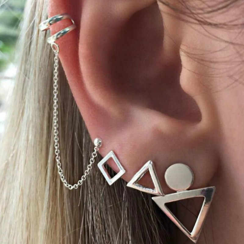 1 Set Sell Women Geometric Figure Bohemian Earring Hoop Earrings for Women Boucle Jewelry Dazzling Cubic Zirconia Opal Brincos