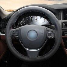 High quality Black Artificial Leather anti-slip customized car steering wheel cover For BMW F10 2014 520i 528i 2013 2014 730Li цена и фото