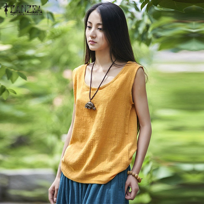 2019 ZANZEA Women Tops Summer Sexy Sleeveless   Blouses   Casual Loose Solid Blusas   Shirts   Plus Size Vests Oversized Blusas