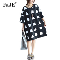 F JE 2017 Summer New Fashion Women Big Size Clothing Loose Casual Geometric Batwing Sleeve Dress