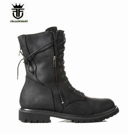 2018 FR.LANCELOT Brand Top Qulaity Western Men Boots Lacu Up Side Back Zipper Black Leather Fashion Botas High Top Shoes Men black sequins embellished open back lace up top
