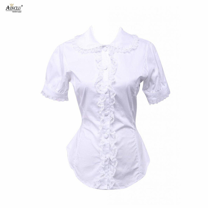 Ainclu XS To XXL Free Shipping Cemavin Cotton Pure Lace White Ruffle Lolita Bottom Blouse