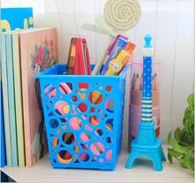 1PC Fashion Kawaii Multicolor Plastic Pen Holder Square Pen Holder Hollow Pen Pot Home Office Stationery Supplies OK 0101 funny frog pen holder home decorative flush toilet pen holder as gift