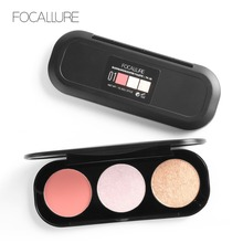 Focallure 3D Shimmer Highlighter Illuminator 3Color Women Face Contour Makeup Powder Kit Smooth Cheek Blush&Highlighter Palette