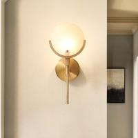 2018 New Nordic Loft Glass Golden Bedroom LED Wall Light Art Minimalist Bedside Corridor Wall Sconce Free Shipping